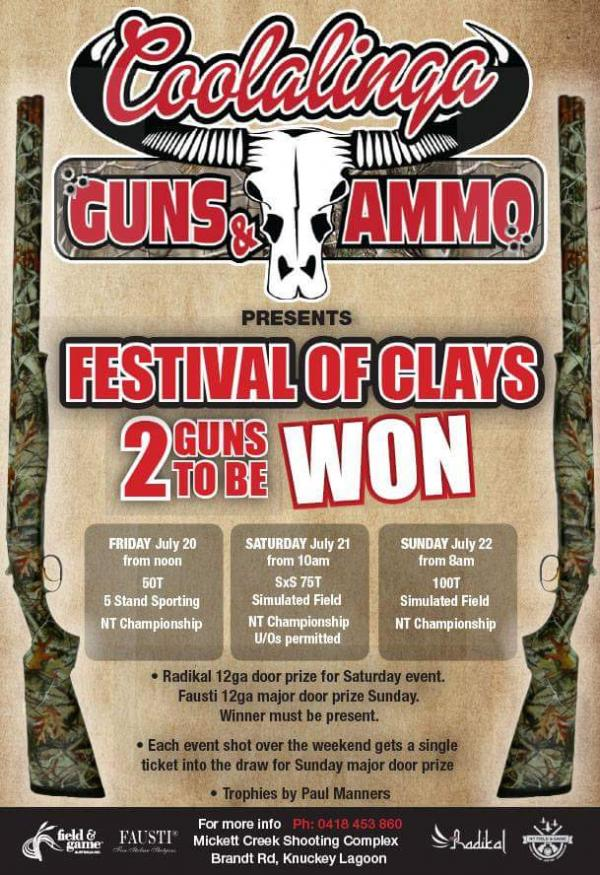 gun comp poster festival of clays nt shooting comp july 2018 coolalinga guns and ammo